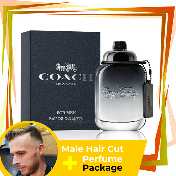 TipTop Barbershop Male Haircut Service + Perfume (Coach Men 100ml) Package