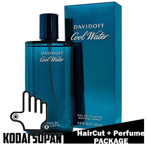 Kodai Sopan Barbershop Male Haircut Service + Perfume (Davidoff Coolwater Men 125ml) Package