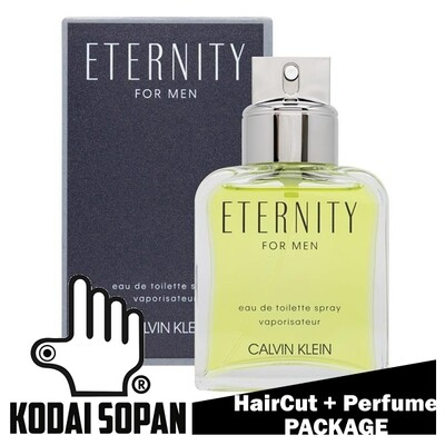 Kodai Sopan Barbershop Male Haircut Service + Perfume (cK Eternity 100ml) Package