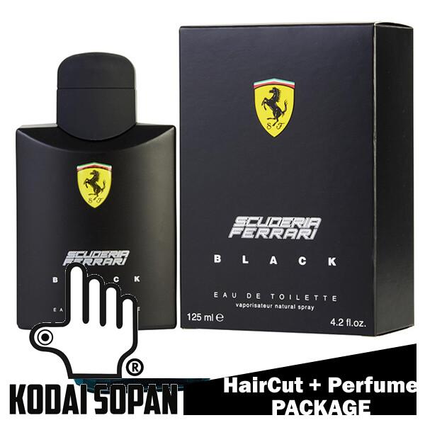 Kodai Sopan Barbershop Male Haircut Service + Perfume (Ferrari Black 125ml) Package
