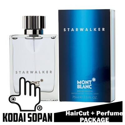 Kodai Sopan Barbershop Male Haircut Service + Perfume (Mont Blanc Starwalker 75ml) Package