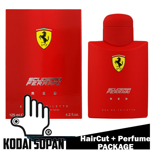 Kodai Sopan Barbershop Male Haircut Service + Perfume (Ferrari Red 125ml) Package
