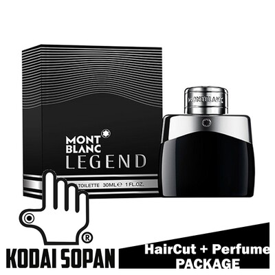 Kodai Sopan Barbershop Male Haircut Service + Perfume (Mont Blanc Legend 30ml) Package