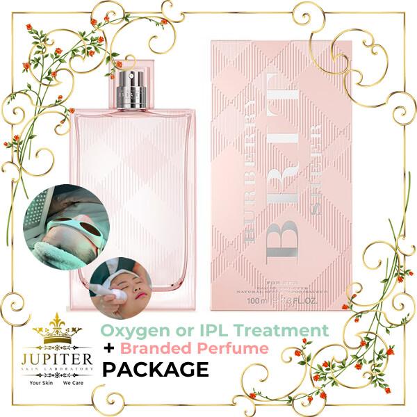 Jupiter Oxygen or IPL Treatment + Branded Perfume (Burberry Brit Sheer 100ml) Package