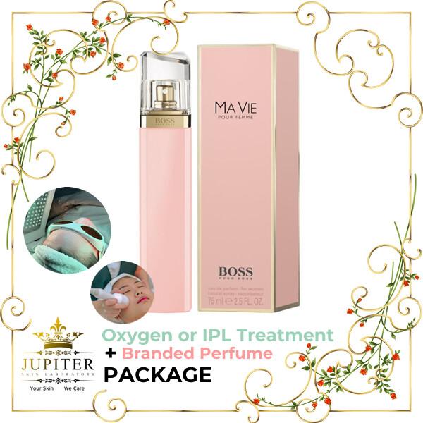 Jupiter Oxygen or IPL Treatment + Branded Perfume (Hugo Boss Ma Vie 75ml) Package