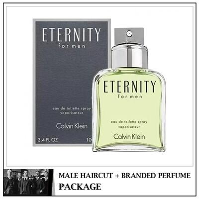 Kingsmen Barberhaüs Kulai Male Haircut Service + Perfume (cK Eternity 100ml) Package