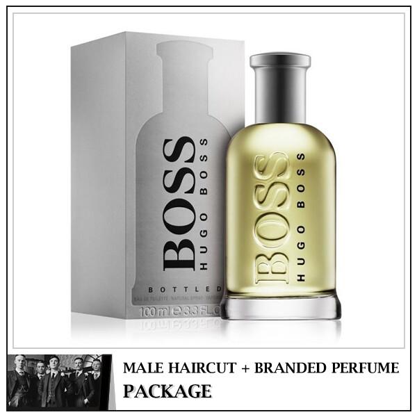 Kingsmen Barberhaüs Kulai Male Haircut Service + Perfume (Hugo Boss Bottled No.6 100ml) Package