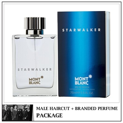 Kingsmen Barberhaüs Kulai Male Haircut Service + Perfume (Mont Blanc Starwalker 75ml) Package
