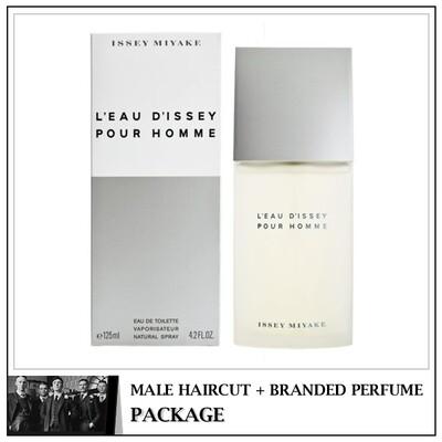 Kingsmen Barberhaüs Kulai Male Haircut Service + Perfume (Issey Miyake Pour Homme 125ml)  Package