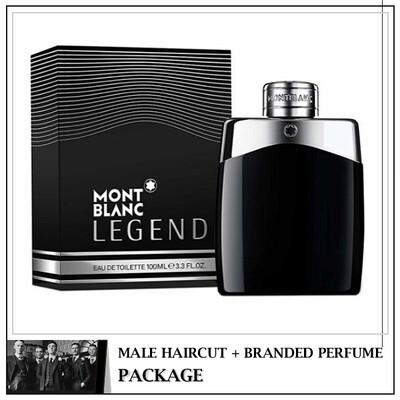 Kingsmen Barberhaüs Kulai Male Haircut Service + Perfume (Mont Blanc Legend 100ml)  Package