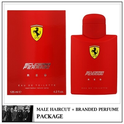 Kingsmen Barberhaüs Kulai Male Haircut Service + Perfume (Ferrari Red 125ml)  Package