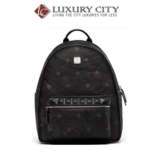 [Luxury City] Mcm Backpack Nylon Lion Print Rivet Travel Bag Small (Black)-MUK8SDT68