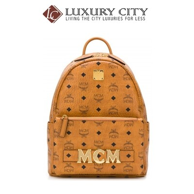 [Luxury City] Mcm Printed Logo Backpack Brown Mcm-MMK8AVE83
