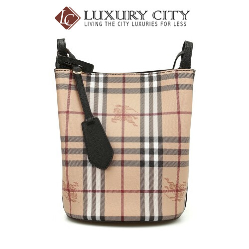 [Luxury City] Burberry Leather And Haymarket Check Crossbody Bucket Bag In Black Burberry-40571581