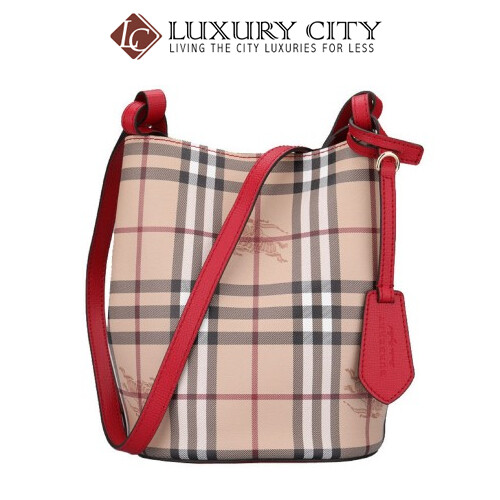 Burberry Leather And Haymarket Check Crossbody Bucket Bag In Poppy Red Burberry-40571571
