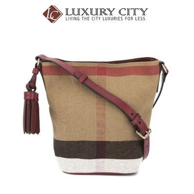 [Luxury City] Burberry Burgundy Red Leather And Canvas Check Small Ashby Bag Burberry-40204851