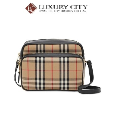 [Luxury City] Burberry Medium Vintage Check And Leather Camera Bag Burberry-8019377