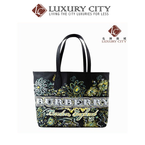 Burberry Reversible Flower Doodle Canvas Tote - Black BURBERRY-4065911