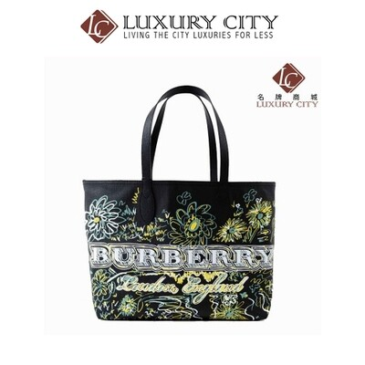 [Luxury City] Burberry Reversible Flower Doodle Canvas Tote - Black Burberry-4065911