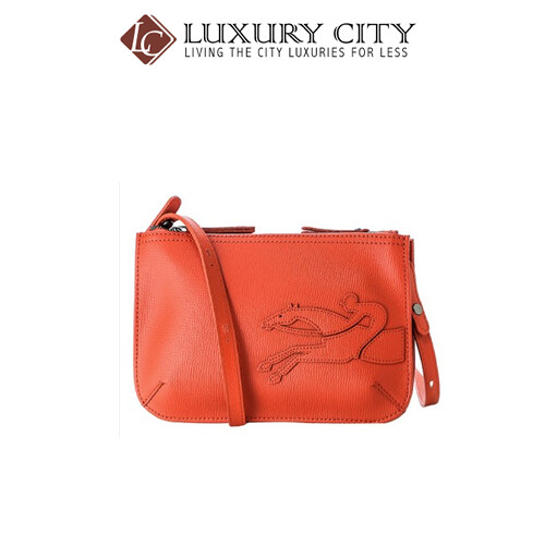 [Luxury City] Longchamp Shop-It Leather Cross-Body Bag Orange Longchamp-L2071918