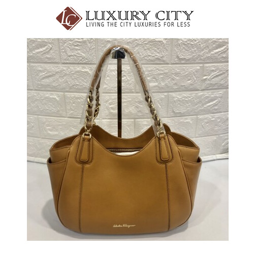[Luxury City] Salvatore Ferragamo Camel Colour Shoulder Carry Bag 609280