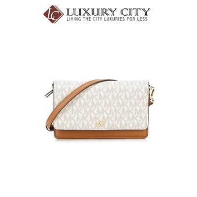 Logo and Leather Convertible Crossbody Bag WHITE/CREAM MK-32T9GF5C0L
