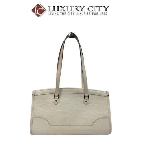 [Luxury City] Preloved Authentic Louis Vuitton EPI Madeleine PM Shoulder Bag White EPI Leather