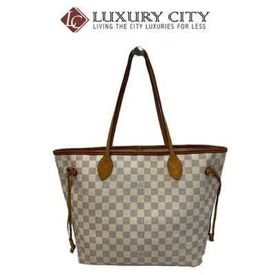 [Luxury City] Preloved Authentic Louis Vuitton Neverfull MM Damier Azur Tote Bag
