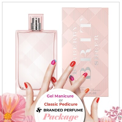 JnS Nail&Beauty Salon Manicure/ Pedicure Service + Perfume (Burberry Brit Sheer EDT 100ml) Package