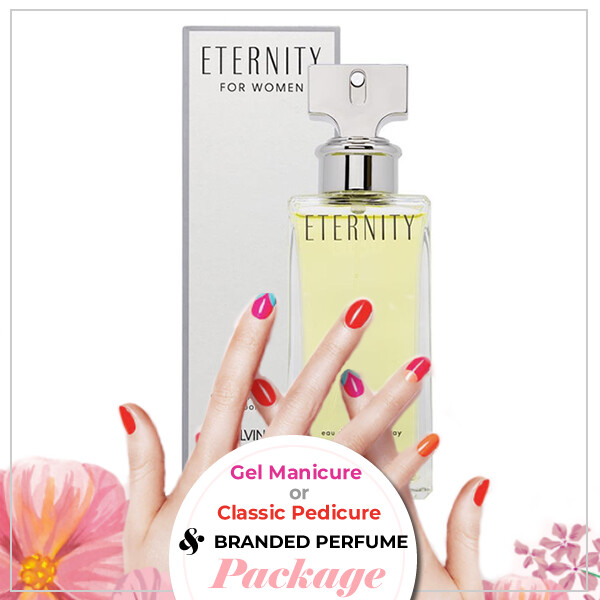 JnS Nail&Beauty Salon Manicure/ Pedicure Service + Perfume (Calvin Klein Eternity EDP 100ml) Package
