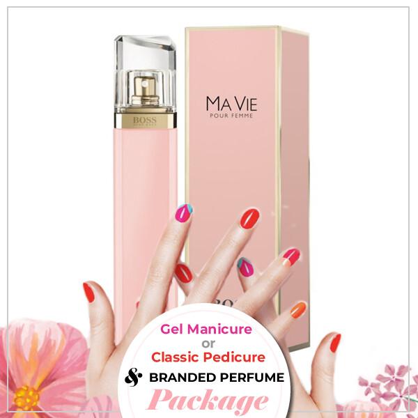 JnS Nail&Beauty Salon Manicure/ Pedicure Service + Perfume (Hugo Boss Ma Vie Pour Femme EDP 75ml) Package
