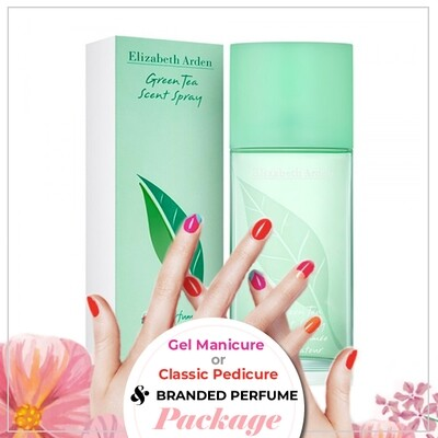 JnS Nail&Beauty Salon Manicure/ Pedicure Service + Perfume (Elizabeth Arden Green Tea EDP 100ml) Package