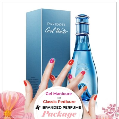 JnS Nail&Beauty Salon Manicure/ Pedicure Service + Perfume (Davidoff Cool Water EDT 100ml) Package