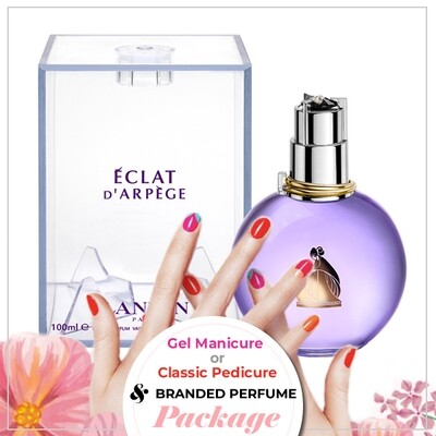 JnS Nail&Beauty Salon Manicure/ Pedicure Service + Perfume (Lanvin Eclat EDP 100ml) Package