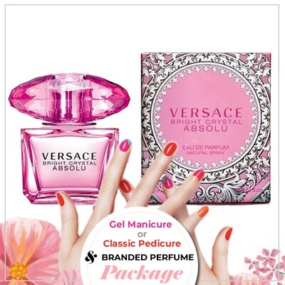JnS Nail&Beauty Salon Manicure/ Pedicure Service + Perfume (Versace Bright Crystal Absolu EDP 90ml) Package