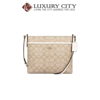 [Luxury City] Coach Signature Coated Canvas Crossbody File Bag Lt Khaki Chalk Coach-F29210