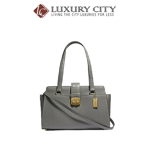 [Luxury City] Coach Avery Gray Crossgrain Leather Satchel Gray Coach-F38082