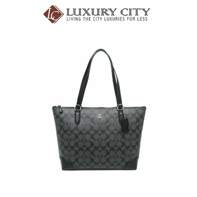 [Luxury City] Coach Zip Top Tote In Signature Canvas Handbag Black Smoke Coach-F29208