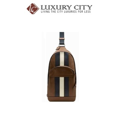 [Luxury City] Coach Houston Pack Varsity Stripe Leather Brown Saddle Coach-F49318