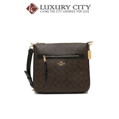 [Luxury City] Coach Mae File Crossbody In Signature Canvas Broewn/ Mahogany Coach-F77885