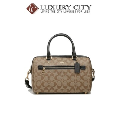 [Luxury City] Coach Rowan Satchel In SignatureI Canvas Light Brown/Sand Coach-F83607