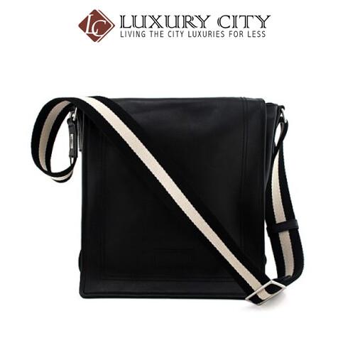 [Luxury City] Bally Men's Black Leather Black And White Fabric Strap Messenger Bag Bally-6166488