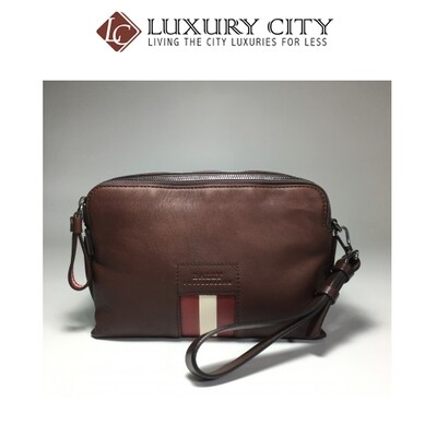 [Luxury City] Bally Zipped Wash Bag Chestnut Men Accessories Bags