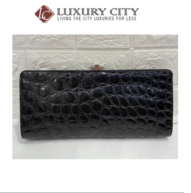 [Luxury City] Preloved Vintage Dior Crocodile Print Clutch