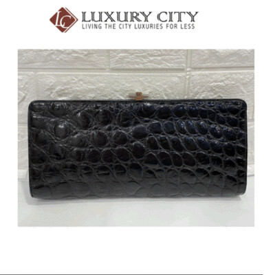 [Luxury City] Preloved Vintage Dior Crocodile Print Clutch