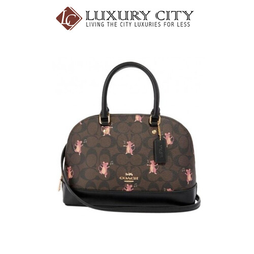 [Luxury City] Coach Mini Sierra Satchel In Signature Canvas With Party Mouse Print Coach-F87662