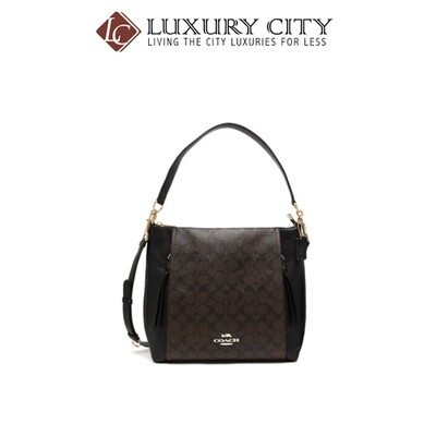 [Luxury City] Coach Marlon Hobo In Signature Canvas Black Coach-F79993