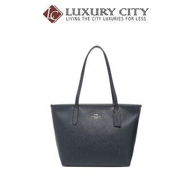 [Luxury City] Coach Zip Top Tote Navy Coach-F83857