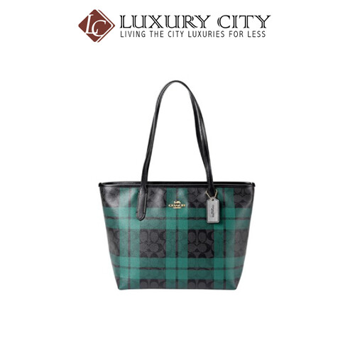 [Luxury City] Coach Zip Top Tote In SignatureI Canvas With Field Plaid Print Blue Green Coach-F80028