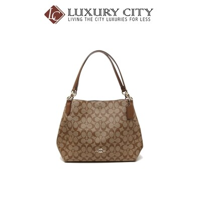 [Luxury City] Coach Hallie Shoulder Bag In Signature Canvas Canvas Coach-F80298
